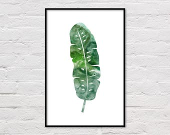 Banana Leaf Poster, Palm Leaf Print, Large Wall Art, Botanical Wall Decor, Watercolor Plant, Modern Minimalist, Leaf Art, Instant Download