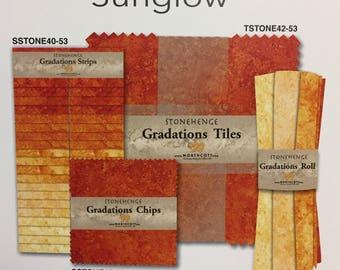 "SUNGLOW Orange/Yellow - Northcott Gradations (42) Layer Cake Precut 10"" square tiles [[cotton//fabric//ombre]]"