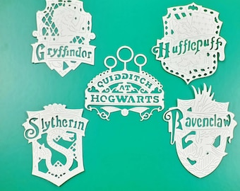 Set of 10 Harry Potter DIE CUT crests in 300gsm water colour paper