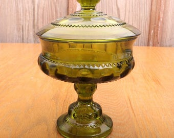 Vintage Green Indiana Glass Co Kings Crown Thumbprint Lidded Compote Footed Bowl
