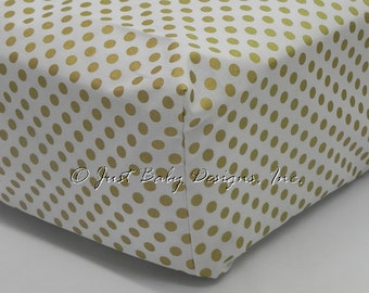 Fitted Crib Sheet - Gold Dots