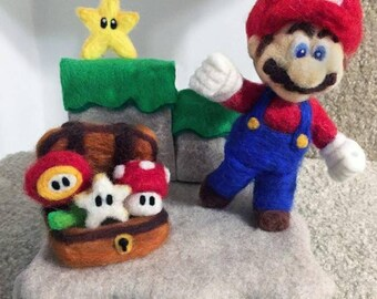 Super Mario and Friends Hand-Felted Scene