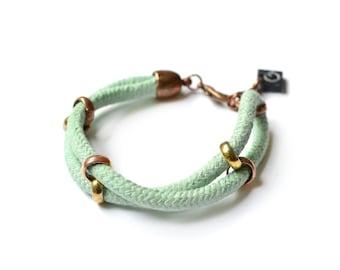 Mint Green Cotton Rope Bracelet, Cord Bracelet, Friendship Bracelet, Bridesmaid Bracelet, Birthday Gift, Girlfriend Gift, Daughter Gift