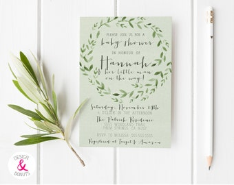 Forest Baby Shower Invitation, Printable, Woodland, Green [109b]