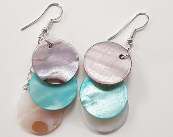 Mother of pearl shell disc earrings
