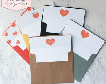 Printed Matching Envelope Liner   A2 Sized Liner   Wedding Thank You Card   Bridal Shower Gift   Thank You From The Mr and Mrs   Heart Liner