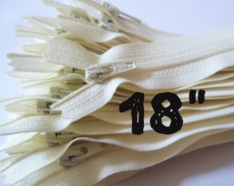 18 Inch vanilla YKK zippers, 25 pcs, ivory, off white, YKK color 121, dress, pouch zippers, sewing supplies