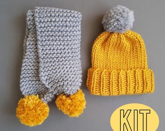 Scarf & Hat Set, 2 Colour Chunky Scarf and Pom Pom Hat, Scarf Knit Kit, Beginner Scarf and Hat Knit Kit, Chunky Merino Wool Scarf Knit Kit