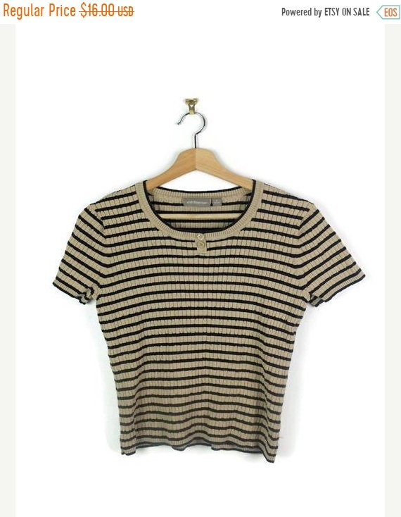 On Sale Beige X Black Stripe Ribbed Short Sleeve T Shirt /Top From 90's by Etsy