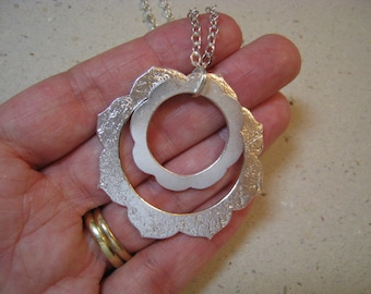 Double Hoop Fine Silver Necklace - Double Hoop Necklace - Double Hoop Pendant - Fine Silver Pendant