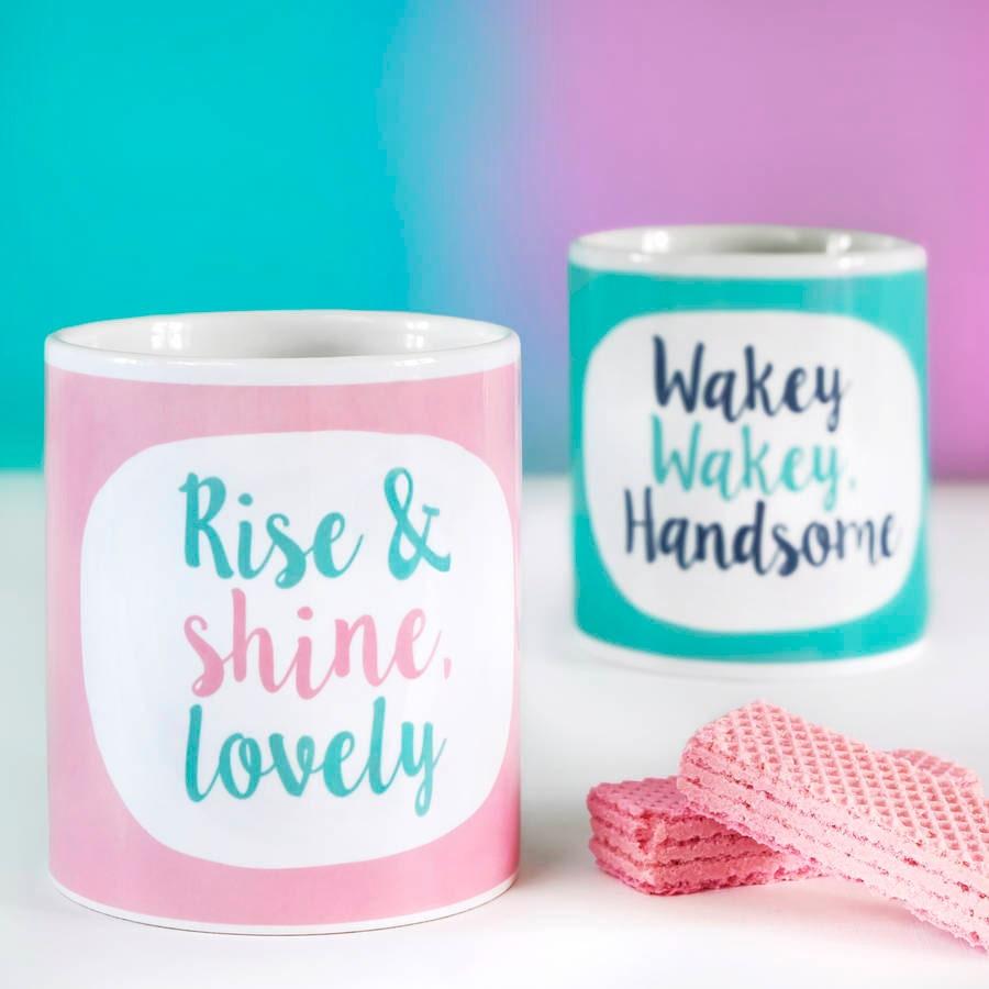 Couple mugs Wakey Wakey Rise And Shine Mug Pair funny