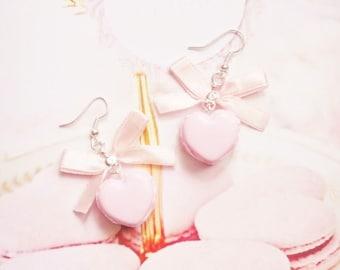 earrings pink heart macarons