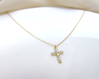 CZ cross necklace, gold cross necklace, 14k gold filled chain cross necklace, diamond cross