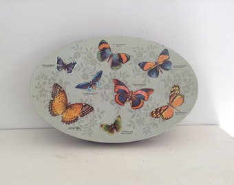 Vintage Oval Butterfly Tin