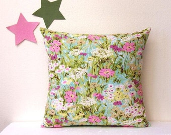 Decorative 18x18 Pillow Cover, Waverly Fabric Pillow, Turquoise Green Pink Floral Accent Sofa Cushion Cover, Bright Flowers Pillow Case