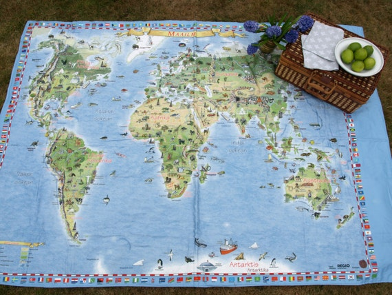 Picnic blanket large world map flags modern city picnic extra like this item gumiabroncs Image collections