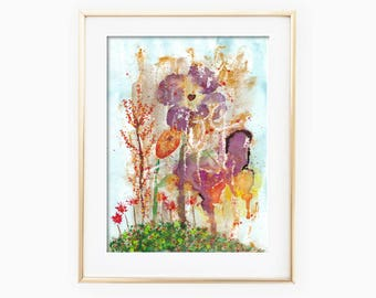 Abstract Garden Art, Abstract Garden, Garden Watercolor, Abstract Watercolor, Flowers Watercolor, Garden Painting, Flowers Painting