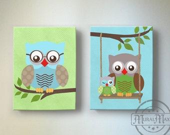 Owl Baby Nursery Wall Art, Owl Art, Owl Nursery Decor  - OWL canvas art, Owl Decor nursery art , Aqua Green