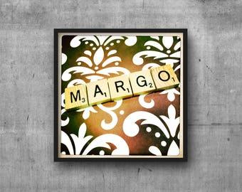 MARGOT - Name Art - Scrabble Tile Name - Art Photo - Photography Art Print - Name Sign