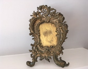 Antique Brass/Bronze Victorian Cherub Picture Frame/Easel style
