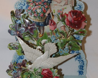 Unused Vintage Victorian Valentine 3D Fold Down Dove Boy Girl Flowers Early 1900s Germany