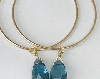 London Blue Earrings Blue Topaz Earrings London Blue Topaz earrings Quartz earrings Hoop earrings December birthstone