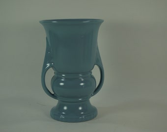 Abingdon Pottery USA, Gray Blue Trophy Shaped VASE, Planter Mid-Century Pottery, Floral Flower Container Vase, Free Ship