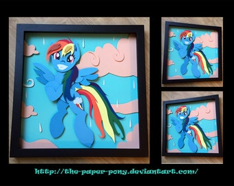 "12"" x 12"" Wet Mane Rainbow Dash Shadowbox"