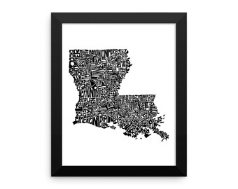 Louisiana typography map art FRAMED print customizable personalized state poster custom wall decor engagement wedding housewarming gift