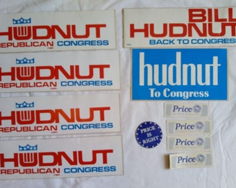 Indiana Campaign Election Sticker Lot, Bill Hudnut, Price, Indianapolis