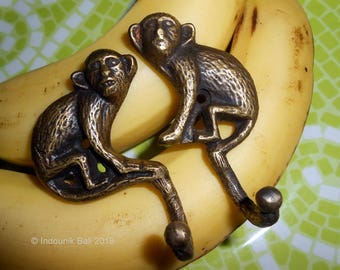 Monkey Business Brass Wall Hooks Pair