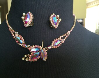 Vintage Jay Kel, New York Red Aurora Borealis Rhinestone and Pearl Necklace and earrings Demi Parure Set