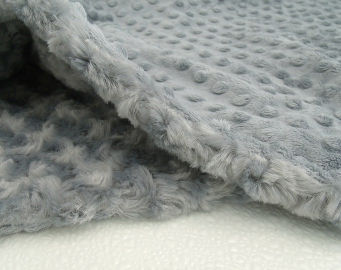 Charcoal Gray Minky Dot and Rose Swirl Baby Blanket
