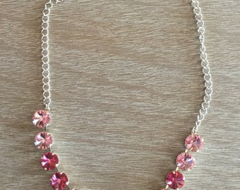 12MM Light Rose and Rose Swarovski Necklace