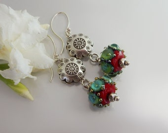 Lampwork Green Bubbles Earrings - Lampwork Glass Earrings- Handmade Jewelry - Earrings Handmade