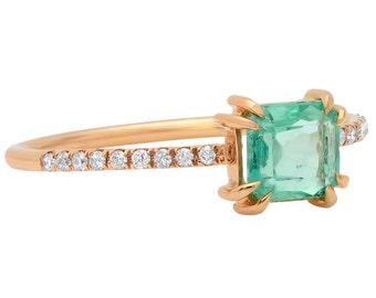 Emerald Ring, Micropave Ring , Diamond Ring, Gold Emerald Ring, Emerald Cut, Gold Ring, Engagement Ring, Tula Jewelry