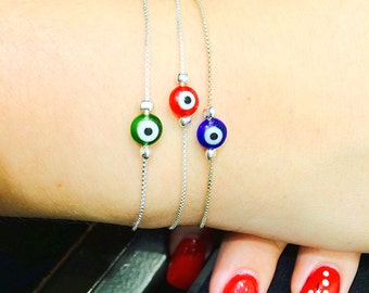 Evil Eye Bracelet With Lampwork Lucky Eye on a .925 Silver Chain • Safe to Get Wet • 11 Different Wrist Sizes to Choose From