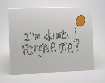 Sorry cards etsy im sorry card balloon yellow im dumb forgiveness m4hsunfo