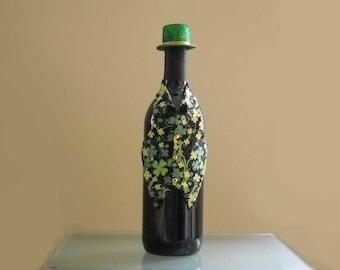 Wine Bottle Vest St. Patrick's Day Wine Bottle Vest with Shamrocks and Glitter