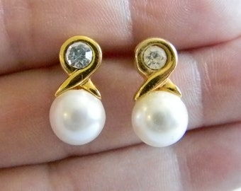 Gold Tone White Pearl Post Pierced Earrings