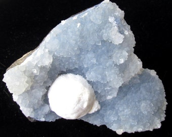 Blue Zeolite Druzy with Stilbite Orb Inclusion - Raw Natural Mineral Specimen - India