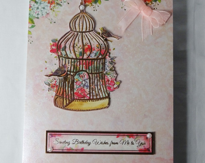 Gold Bird Cage, Birthday Card, Greeting Card, Pink Floral, Birds, Flowers Female Any Age, ,Mum, Niece, Daughter, Sister