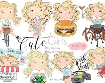 Planner Stickers Girls, Cute Girls stickers, Blonde hair girls, Shopping girl Clipart, Supergirl clipart, BBQ girl, Planner girls clipart
