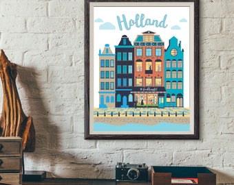 Vintage Cities Bookstore, Holland, 11x14 print