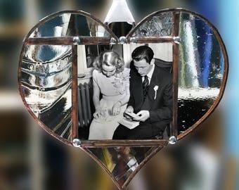 Accrocher le cadre photo en verre coeur en verre clair texturé en cuivre finition avec des Accents décoratifs argent