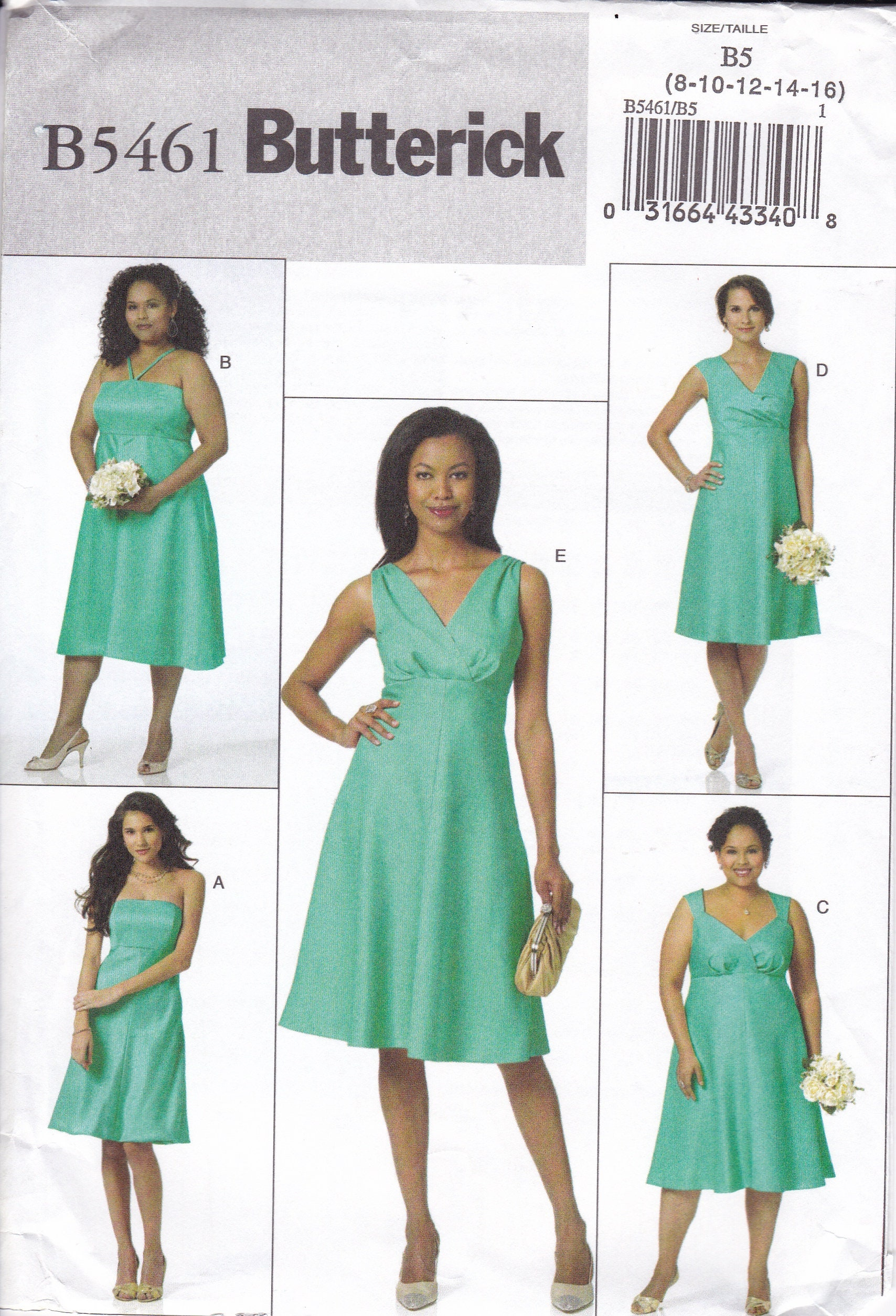 FREE US SHIP Butterick 5461 Sewing Pattern Wedding Bridesmaid Dress ...