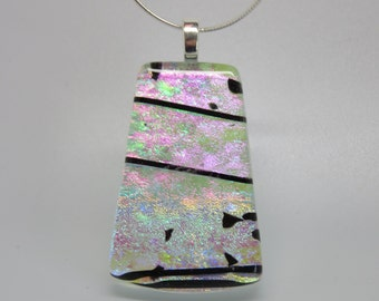 Dichroic fused art glass pendant
