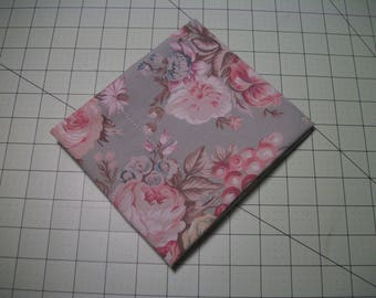 "Floral FQ, Cotton Fabric, light mint background, 27"" x 17"". Reclaimed fabric."