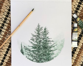 Watercolor Pine Trees Giclee Print, Green