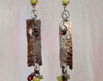 WILD TERRAIN - OOAK One Of A Kind, Sterling Silver, Copper, Garnet, Turquoise, Earrings